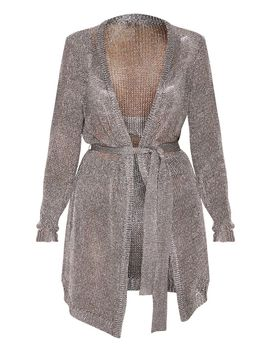 pewter-belted-metallic-cardigan by prettylittlething