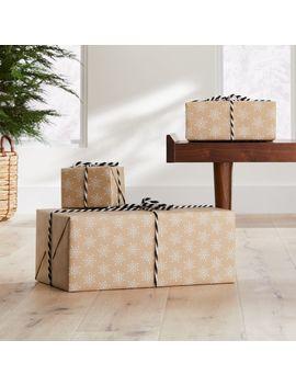 kraft-snowflake-gift-wrap by crate&barrel