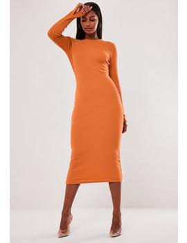 orange-ribbed-long-sleeve-midi-dress by missguided