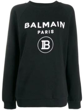 flocked-logo-sweatshirt by balmain