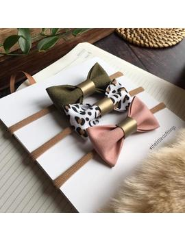 dusky-pink-leopard-print-bows,-pink-and-green-baby-hair-bows,-khaki-bow-headband,-animal-print-headband-set,-little-girl-bow-set by etsy