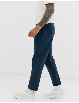 asos-design-slim-crop-smart-pants-in-blue-seersucker-check by asos-design