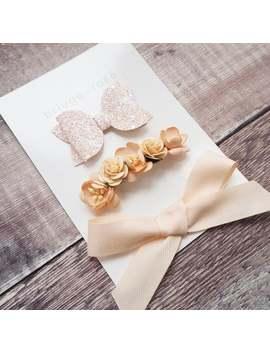 peach-floral-headband-baby,-blush-glitter-hair-bow,-hair-clip-set,-tied-hairbow,-floral-hair-accessories,-flower-girl-gift,-rose-hair-clip by etsy