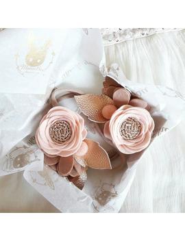 powdery-blush-__-blush-&-rose-gold-felt-flower-headband-__-felt-flower-crown-__-floral-headband-for-baby,-toddler,-girl by etsy