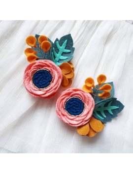 honey-coral-__-riflepaper-co-inspired-felt-flower-headband-__-felt-flower-crown-__-floral-headband-for-baby,-toddler,-girl by etsy