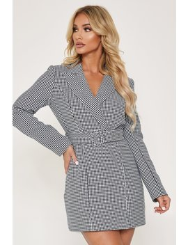 victoria-double-breasted-blazer-dress---houndstooth by meshki