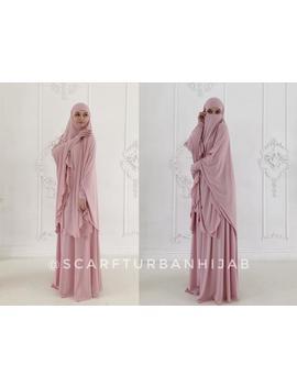 blush-pink-khimar-niqab-transformer,-elegant-traditional-hijab,-ready-to-wear-long-hijab-with-skirt,-islamic-gift,-muslim-dress-abaya by etsy