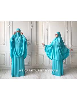 bright-turquoise-khimar-niqab-transformer,-elegant-terra-cotta-traditional-hijab,-ready-to-wear-long-hijab-with-skirt,-islamic-gift,-muslim by etsy