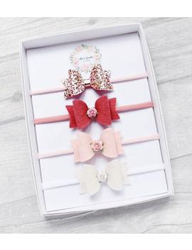 pink-baby-bow-headband-set,-tiny-bows,-starter-bow-set,-small-bows,-baby-bows,-roses-headband,-roses-bows,-bows-on-headband,-baby-girl-gift by etsy