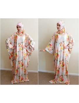 peach-flower-maxi-dress-plus-size,prayer-dress,-farasha-caftan,muslim-dress,-abaya-dress,-modern-hijab,-burqa,-summer-dress,-dress-and-scarf by etsy