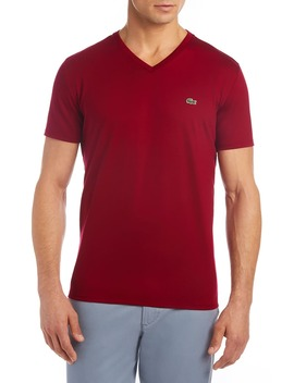 regular-fit-v-neck-cotton-t-shirt by lacoste