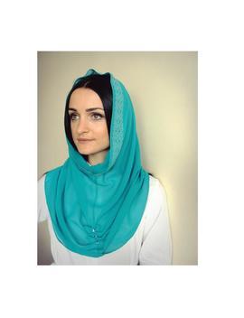 infinity-scarf-chiffon,-aquamarine-hijab,-blue-hijab,-catholic-veil,-chapel-scarf,-stone-hijab,-ready-to-wear-hijab,scarf-handmade by etsy