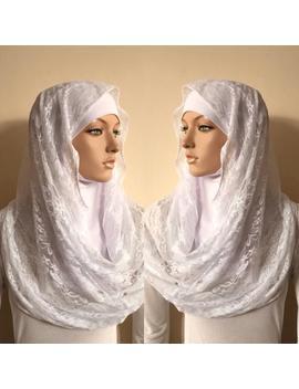 infinity-white-lace-scarf,-wedding-hijab,-catholic-bridal-veil,-chapel-scarf,-lace-modern-hijab,-ready-to-wear-hijab,scarf-handmade,-church by etsy