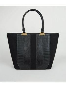 black-front-panel-tote-bag by new-look