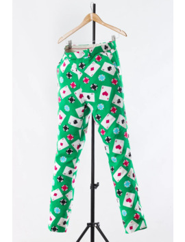 a3960---90s-vintage-mens-poker-printed-graphic-pants-trousers-green-size-w32-l34 by vintage  ×