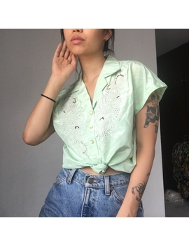 palest-lime-hand-embroidered-satin-shirt-with-lace by depop