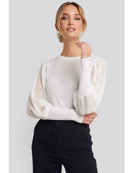 tulle-long-sleeve-top-white by trendyol