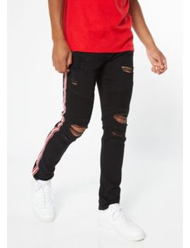 supreme-flex-black-side-striped-ripped-skinny-jeans by rue21