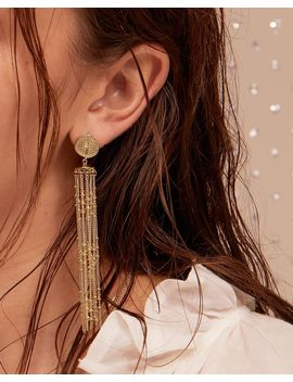 Pave Coin Fringe Earrings  Gold by Luv Aj