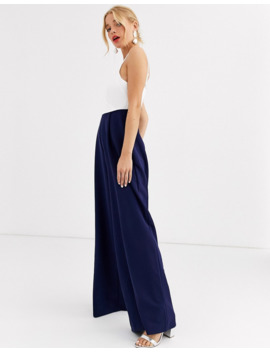 paper-dolls-wrap-front-wide-leg-jumpsuit-in-navy by paper-dolls