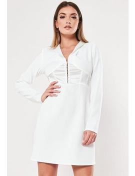 white-hook-and-eye-a-line-blazer-dress by missguided