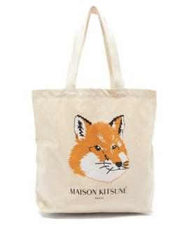 fox-head-logo-print-cotton-canvas-tote-bag by maison-kitsuné