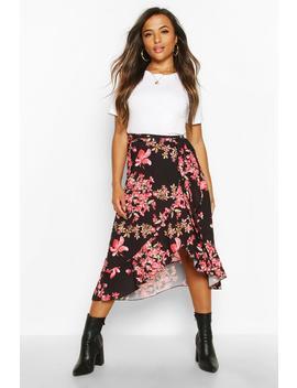 petite-floral-wrap-midi-skirt by boohoo