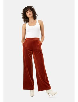 Delivery +Returns +Jic Straight Leg Velvet Trousers In Rust Brown by Traffic People