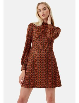 delivery-+returns-+cher-mini-printed-tunic-dress-in-orange-and-green by traffic-people