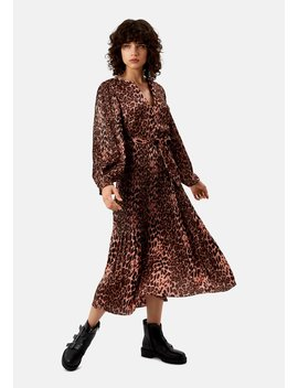 Delivery +Returns +Pleated Fallen Maxi Dress In Pink Leopard Print by Traffic People