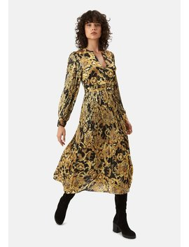 Delivery +Returns +Falls And Rises Maxi Pleated Dress In Black And Gold by Traffic People