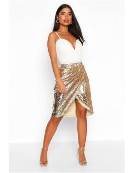 petite-sequin-wrap-midi-skirt by boohoo