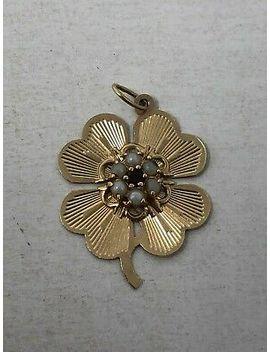 vintage-14k-yellow-gold-charm-pearl-garnet-center-4-leaf-clover-32g by ebay-seller
