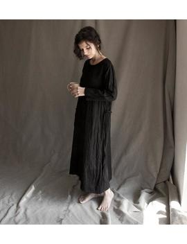 long-black-linen-dress-ghost-with-raw-hems,-pocket-and-belt by etsy