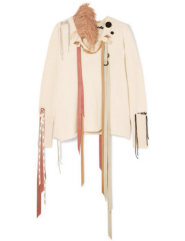 feather-and-grosgrain-trimmed-cashmere-sweater by loewe