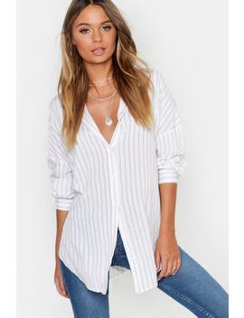 chemise-rayée-oversize-à-rayures-latérales-en-coton-fendue-sur-le-côté by boohoo