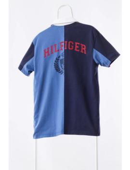 a3462---90s-vintage-mens-tommy-hilfiger-polo-shirt-blue-black-big-logo-size-m by vintage  ×  tommy-hilfiger  ×