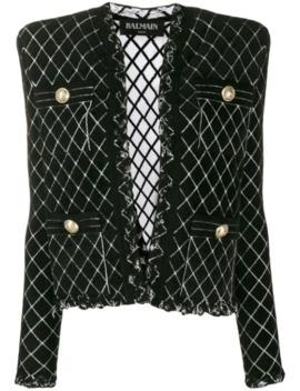 tweed-knitted-blazer by balmain