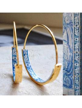 """hoops-earrings-hoop-atrio-tile-blue-portugal--stainless-steel-azulejo-university-of-evora--delicate-1-1_4""""-(318cm)-ships-from-usa-thin-wire by etsy"""