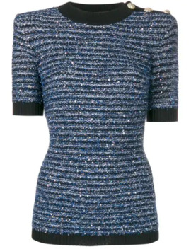 striped-tweed-knit-top by balmain