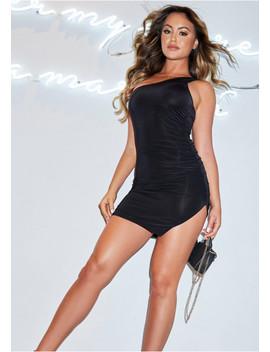 esme-black-one-shoulder-slinky-ruched-split-dress by missy-empire