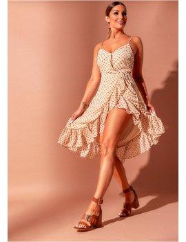 juniper-beige-polkadot-wrap-frill-dress by missy-empire