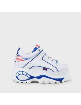 Buffalo Classic Platform Leather White Sneaker Uk Flag by Buffalo