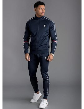 Gk Diego Retro Taped Poly Funnel Neck Tracksuit Top   Navy Nights by The Gym King