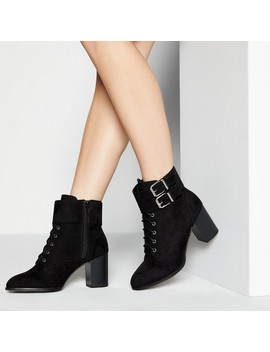 black-buckle-willoughbie-mid-block-heel-ankle-boots by faith