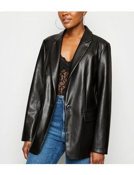 black-coated-leather-look-blazer by new-look