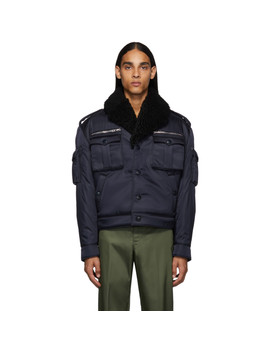 navy-shearling-field-bomber-jacket by prada