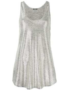 metallic-sheen-tank-top by balmain