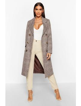 double-breasted-tonal-check-wool-look-coat by boohoo