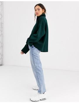 weekday-sadie-zip-detail-sweatshirt-in-dark-green by weekday